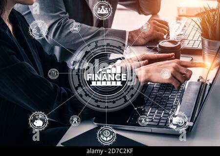 Finance and Money Transaction Technology Concept. Icon Graphic interface showing fintech trade exchange, profit statistics analysis and market analyst - Stock Photo