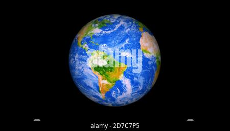 Beautiful photo realistic 3d earth on space. .front view of the earth from space with clouds and green landscapes full view earth 4k resolution.