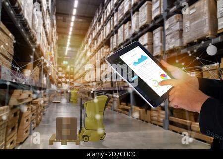 smart retail concept, autonomous robot service use for move box in Stores that stock goods on shelves with artificial intelligence, 5g, digital twin,
