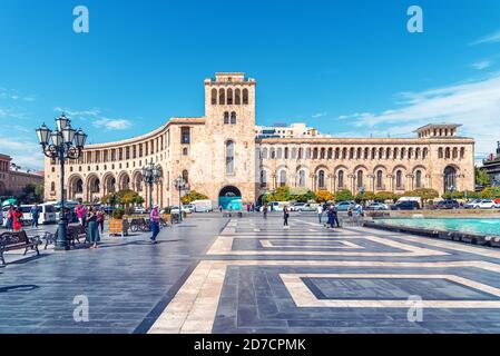 Kentron, Yerevan, Armenia - September 26, 2019: Government House 2 on Republic Square the central town square in Yerevan. The building was home to the