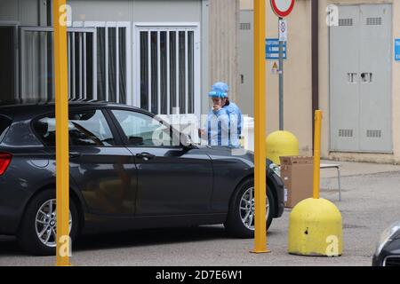 Covid 19 drive-through testing in Milan, Italy - Stock Photo