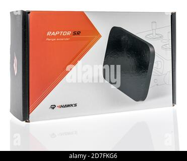 Winneconne, WI - 18 October 2020:  A package of 4hawks raptor SR range extender for a remote controller for a drone on an isolated background. - Stock Photo