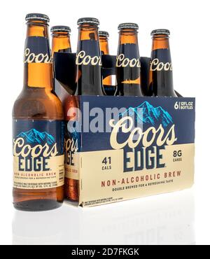 Winneconne, WI - 18 October 2020:  A six pack of Coor Edge non-alcoholic beer on an isolated background. - Stock Photo