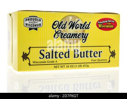 Winneconne, WI - 18 October 2020:  A package of Old world creamery salted butter from Wisconsin on an isolated background. - Stock Photo