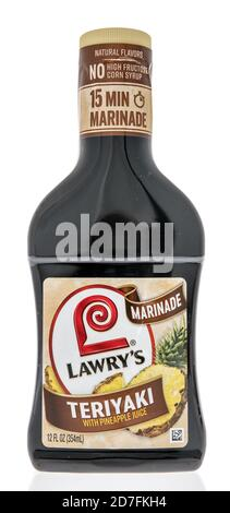 Winneconne, WI - 18 October 2020:  A bottle of Lowrys teriyaki marinade on an isolated background. - Stock Photo