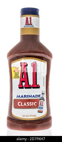Winneconne, WI - 18 October 2020:  A bottle of A1 marinade on an isolated background. - Stock Photo