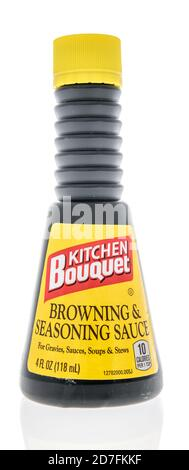 Winneconne, WI - 18 October 2020:  A bottle of Kitchen Bouquet browning and seasoning sauce on an isolated background. - Stock Photo