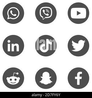 Social Media Icons. Set of 9 Popular Social Media Icons in dark grey background.