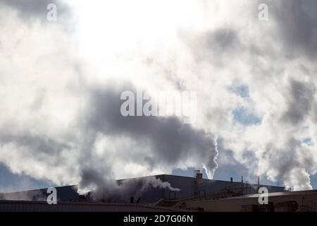 Industry, stacks venting steam, E USA, by James D Coppinger/Dembinsky Photo Assoc