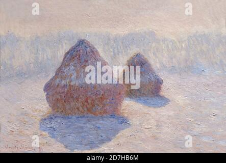 Haystacks, Effect of Snow and Sun, Claude Monet, 1891, Metropolitan Museum of Art, Manhattan, New York City, USA, North America - Stock Photo