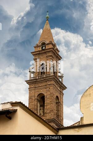 Basilica di Santo Spirito (Holy Spirit, 1444-1487) in Florence downtown, Tuscany, Italy, Europe. Close-up of the bell tower (1503-1570).