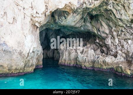 Grotta dei Santi, Cave of Saints or Saints Grotto on Capri Island in Southern Italy with Beautiful Sea and White Rocks