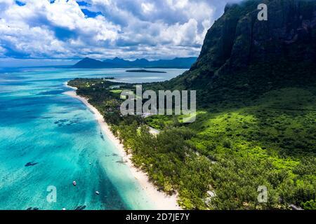 Mauritius, Helicopter view of LeMorneBrabantpeninsula in summer