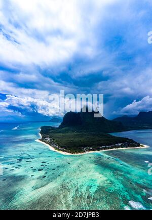 Mauritius, Helicopter view of clouds over LeMorneBrabantpeninsula in summer