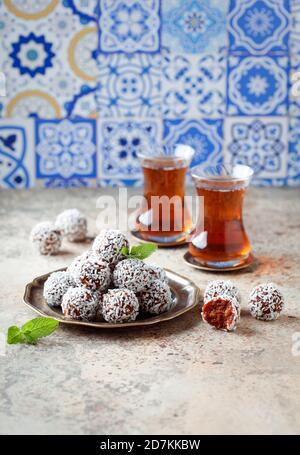Traditional Turkish Carrot Delight (Cezerye), selective focus
