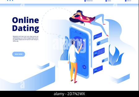 Online dating. Boy texting girl dating with phone woman talking to man smartphone virtual couple love chat date vector page. Girl and boy digital dating, woman man online communication illustration