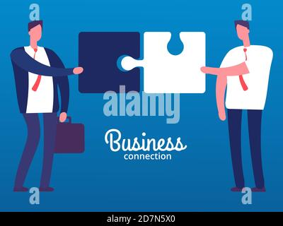 Cartoon businessmen with puzzles. Business cooperation vector concept. Businessman cooperation business, cartoon people partnership illustration