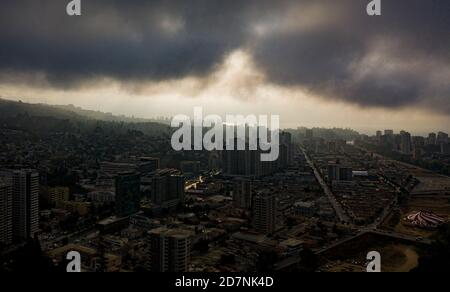 Aerial view of Vina del Mar Chile on a cloudy day Stock Photo