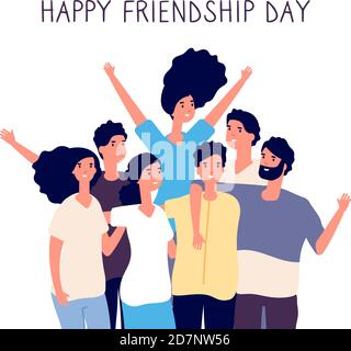 Happy friendship day. Young people group hugging together. Friendship between people. Smiling best friends flat vector concept on white