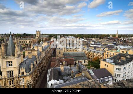 Rooftop view over Cambridge City, from Great St Marys Church tower, Cambridgeshire, England, UK