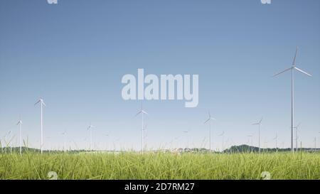Wind generators farm grass on clear blue sky 3d rendering