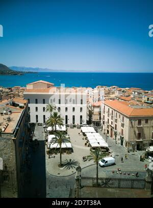 Aerial view of the little city of Cefalù in Sicily, Italy seen from the terrace of its Duomo - Stock Photo