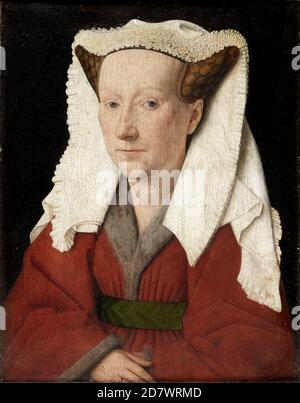 Title: Portrait of Margareta van Eyck Creator: Jan van Eyck Date: 1439 Medium: oil on panel Dimensions: Groeningemuseum, Bruges Location: - Stock Photo
