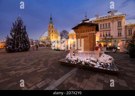 Main square in town Samobor decorated for the advent, Croatia