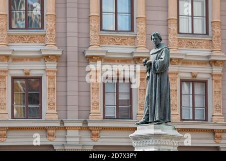 Sculpture of Andrija Kacic Miosic in the center of town Zagreb, Croatia - Stock Photo
