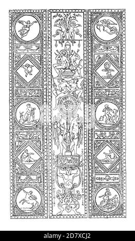 Antique 19th-century illustration depicting arabesque pattern by Raphael at the Apostolic Palace, Vatican City, Rome, Italy. Engraving published in Sy - Stock Photo
