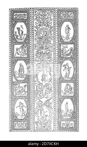 Antique engraving depicting arabesque pattern by Raphael at the Apostolic Palace, Vatican City, Rome, Italy. Illustration published in Systematischer - Stock Photo