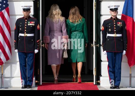 First Lady Melania Trump and the wife of the Prime Minister of the Czech Republic Monika Babišová enter the White House in Washington, D.C. on March 7, 2019. Credit: Alex Edelman/The Photo Access - Stock Photo