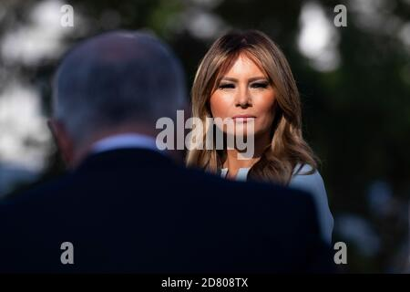 U.S. First Lady Melania Trump looks on during the state visit of Australian Prime Minister Scott Morrison and his wife Jenny as the conduct an official state visit to the White House on September 9th, 2019 in Washington, D.C. Credit: Alex Edelman/The Photo Access - Stock Photo