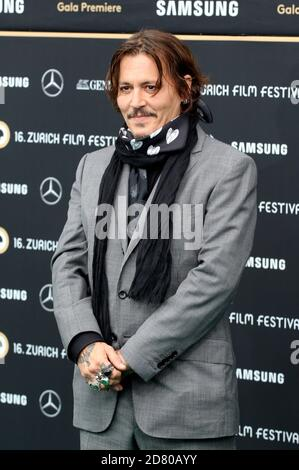 Johnny Depp attending the 'Crock of Gold: A few Rounds with Shane McGowan' premiere during the 16th Zurich Film Festival at Kino Corso on October 02, 2020 in Zurich, Switzerland.