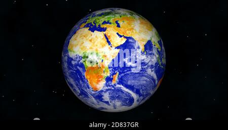 3d rendered photo realistic earth planet. Beautiful green earth planet with colorful galaxy or nebula. front view of the earth from space with clouds