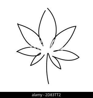 Cannabis leaf icon. Graphic line drawing of marijuana, logo, symbol. Vector illustration. Beautiful minimalistic hand drawing of a plant - Stock Photo