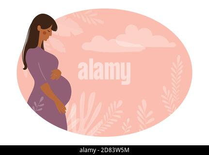 Modern banner about pregnancy and motherhood. Poster with a beautiful young pregnant woman with long hair and place for text. Minimalistic design, flat cartoon vector illustration - Stock Photo