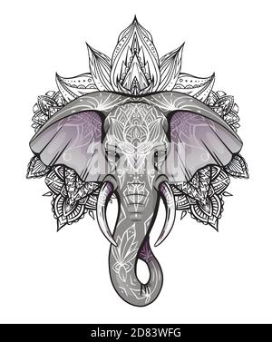Contour color native elephant head with trunk, tusks and boho ornaments. Ganesha head with mandala. Vector silhouette for print on t-shirt, cards, ban - Stock Photo