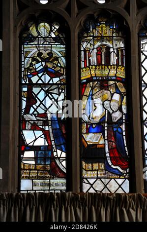 The East Window at Little Malvern Priory, Worcs, historic & nationally important glass from 1480's depicting King Edward IV & Elizabeth Woodville