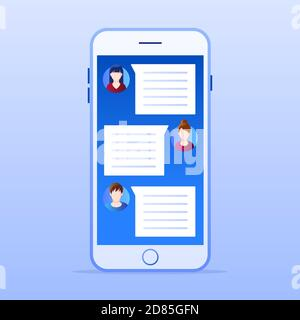 Smartphone with online chat application. Social media marketing concept. Flat style design with gradient. Modern vector.