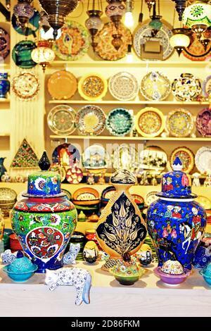 ISTANBUL, TURKEY - APRIL 01, 2013: Classical Turkish ceramics on the market - Stock Photo