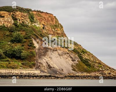 Cliff erosion at Runswick Bay, North Yorkshire Coast, UK. - Stock Photo