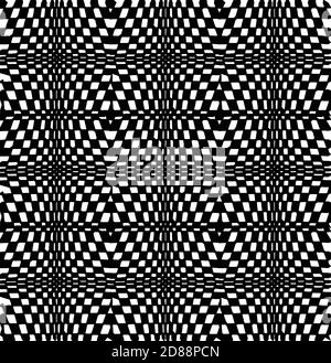 Seamless pattern. Vertical shifts to vanishing points. Large to small geometric Rectangular square shape in black and white Stock Photo