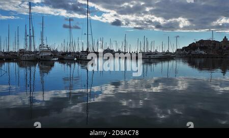 Moored boats in harbor, Imperia Porto Maurizio, Liguria, Italy