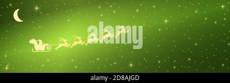 eps vector illustration with Santa Claus on sled with reindeer on starry heaven background colored green - Stock Photo