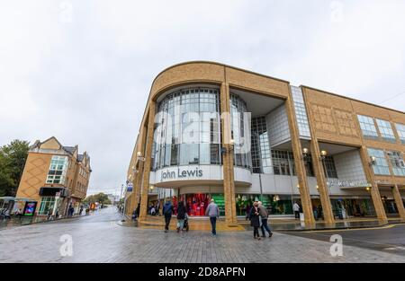 The name of John Lewis above the entrance to its flagship department store in the Greater London Royal Borough of Kingston upon Thames, SE England - Stock Photo