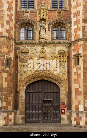 The main entrance of St John's College Chapel. Cambridge, England