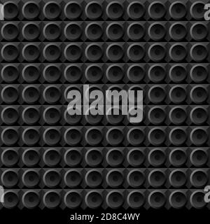 vector geometric seamless pattern black circles on black squares, stylized disco speakers subwoofers. black background on the theme of music house industrial rock metal alternative dubstep.