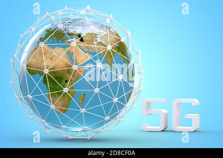 5G network concept with Earth globe, high Speed, broadband mobile telecommunication3d illustration