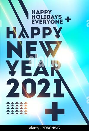 New Year party template. 2021 concept greeting xmas Banner Design templates with typography logo 2021Minimalistic trendy backgrounds for branding - Stock Photo